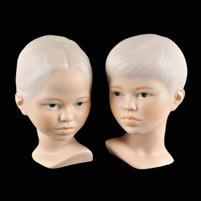 Pair of Vintage Holland Mold Porcelain Bust Statues