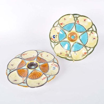 Majolica Oyster Plates