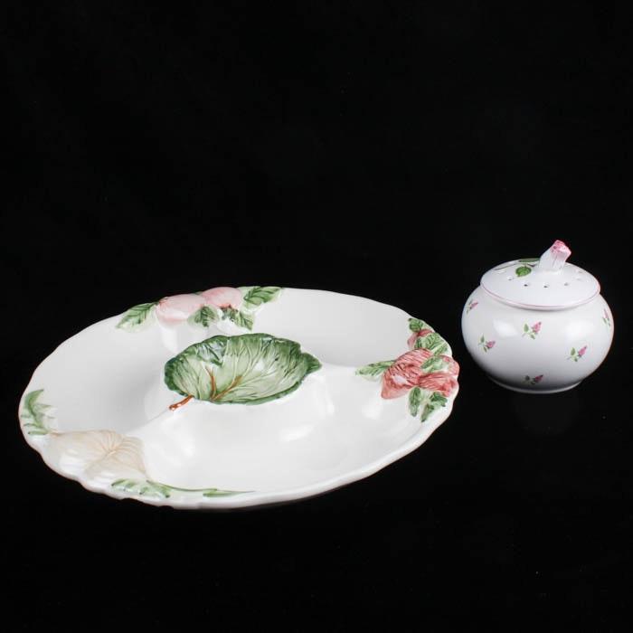 Ceramic Veggie Crudite and Dip Platter and Sugar Bowl