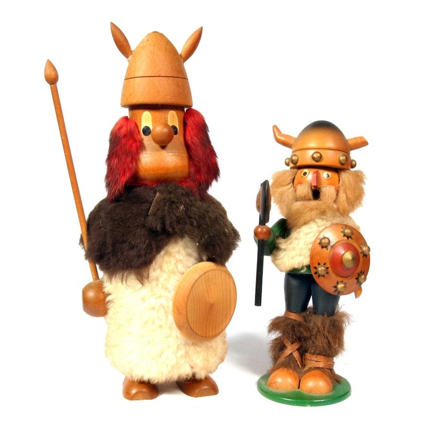 Vintage Wooden Viking Figurines