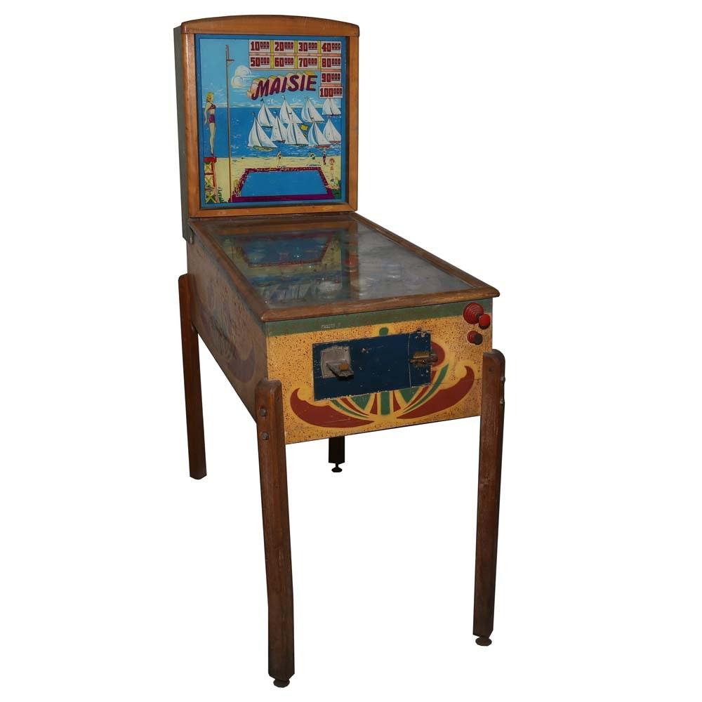"""Vintage Gottlieb & Co. Wooden """"Maisie"""" Pinball Machine"""