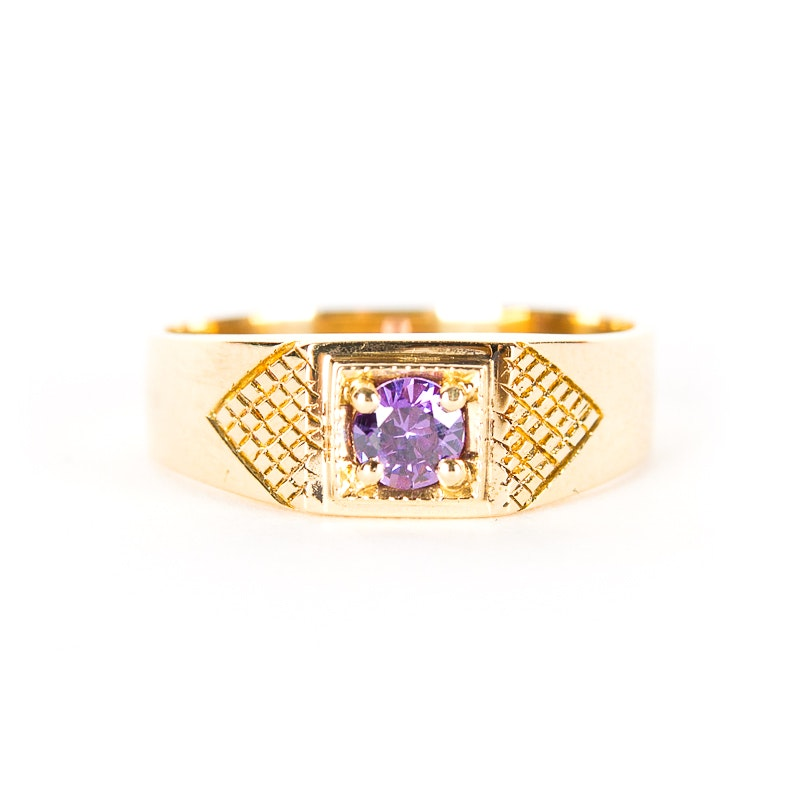 14K Yellow Gold Ring with Purple Stone