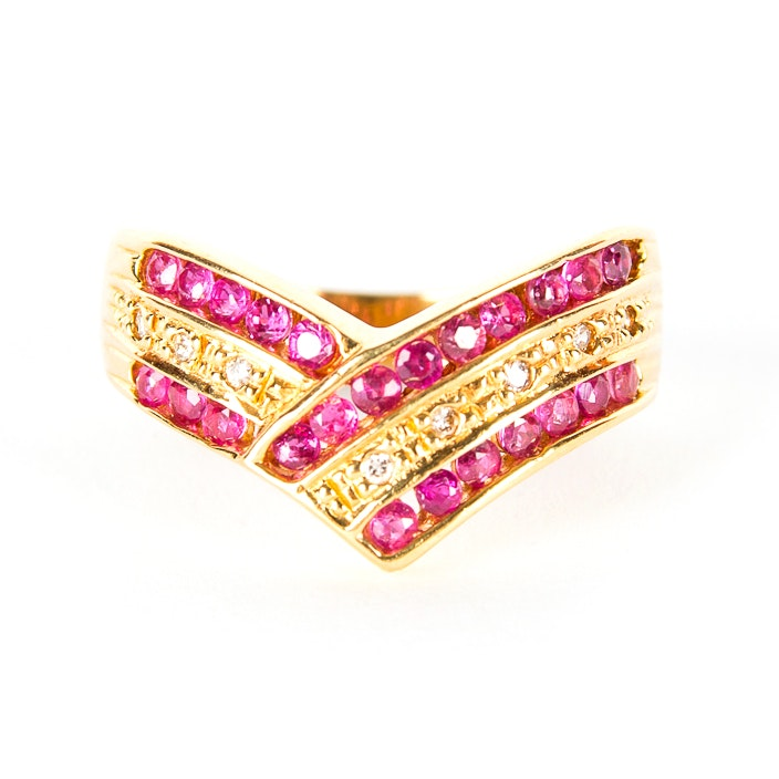 18K Yellow Gold and Ruby Ring