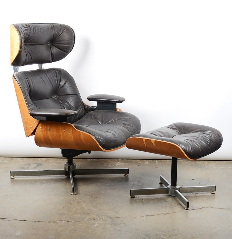 Vintage eames chair - Vintage Eames Style Bentwood Recliner And Ottoman