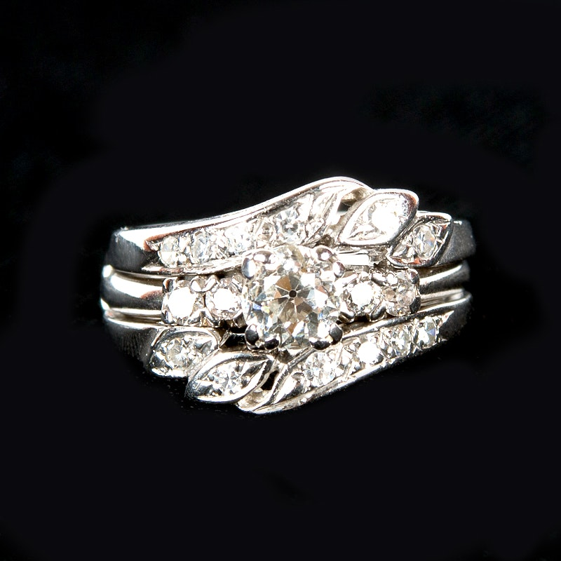 Pair of 14K White Gold Rings with Diamonds