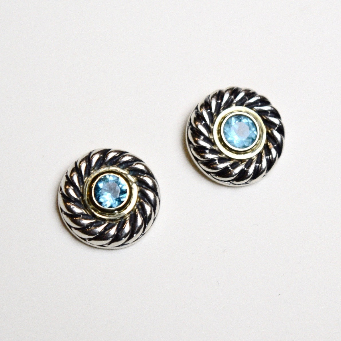 David Yurman Blue Topaz, Sterling Silver, and 14K Yellow Gold Earrings