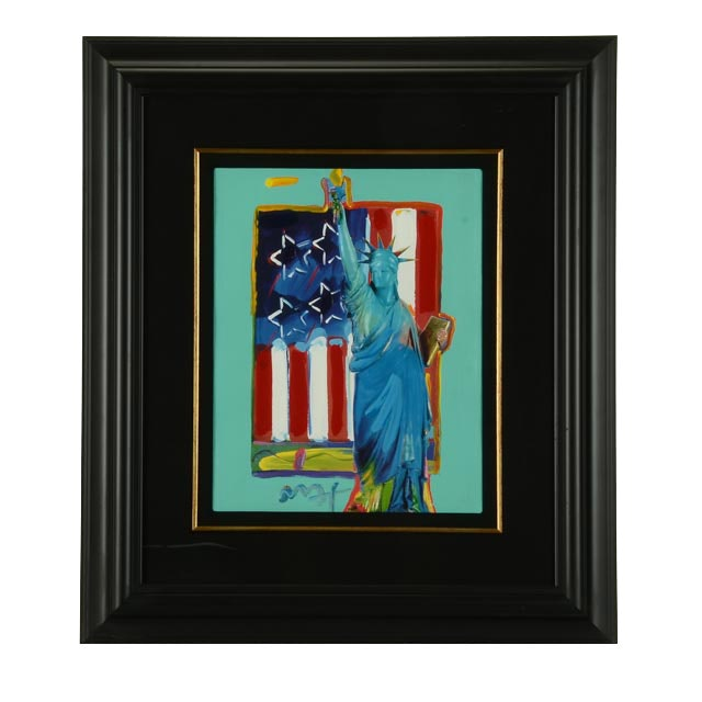 "Peter Max Mixed Media Painted Print ""Full Liberty with Flag"""