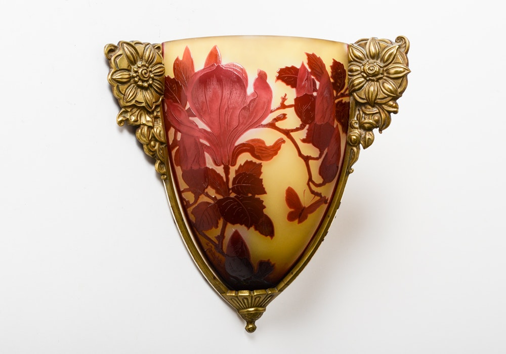 Emile Galle Corner Wall Sconce