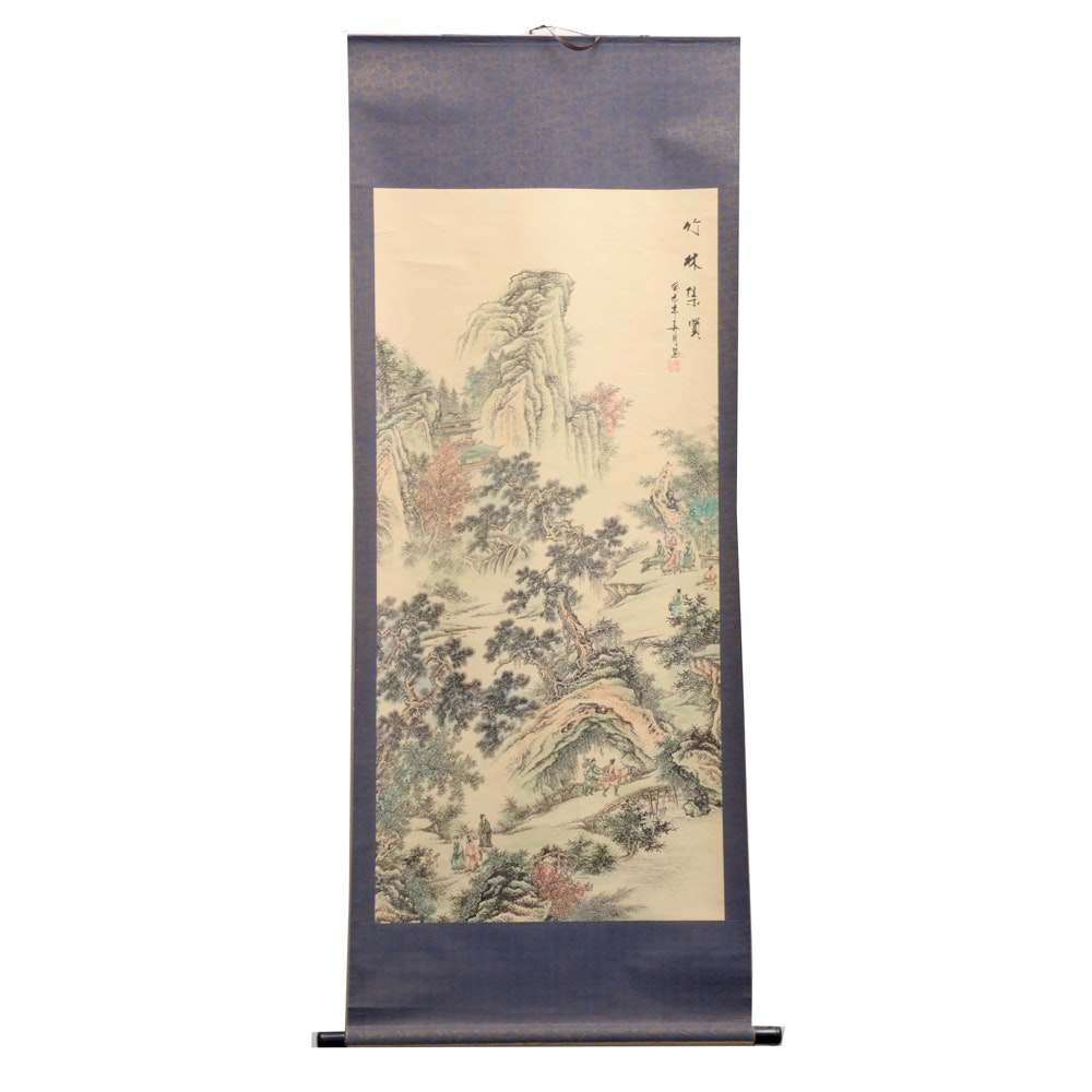 Chinese Landscape Ink and Wash Painted Scroll with Box