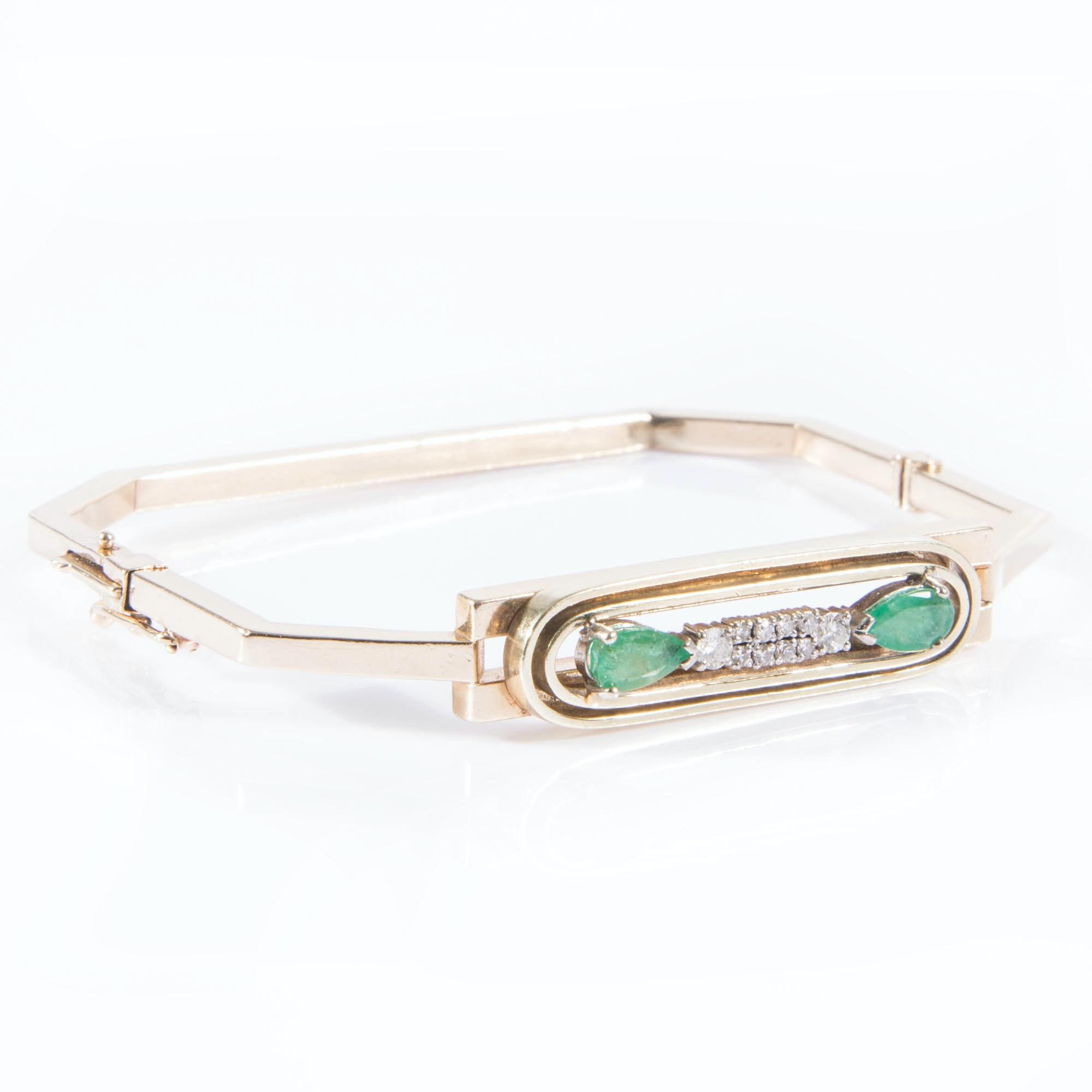 18K Gold Emerald and Diamond Bracelet