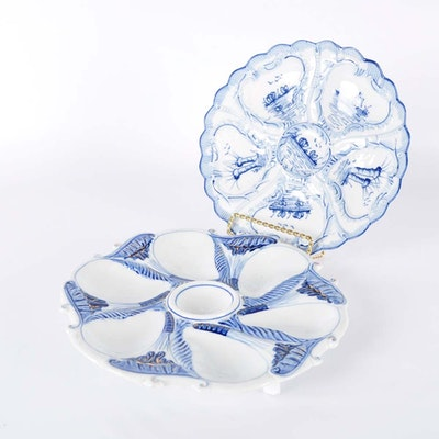 Blue and White Oyster Plates
