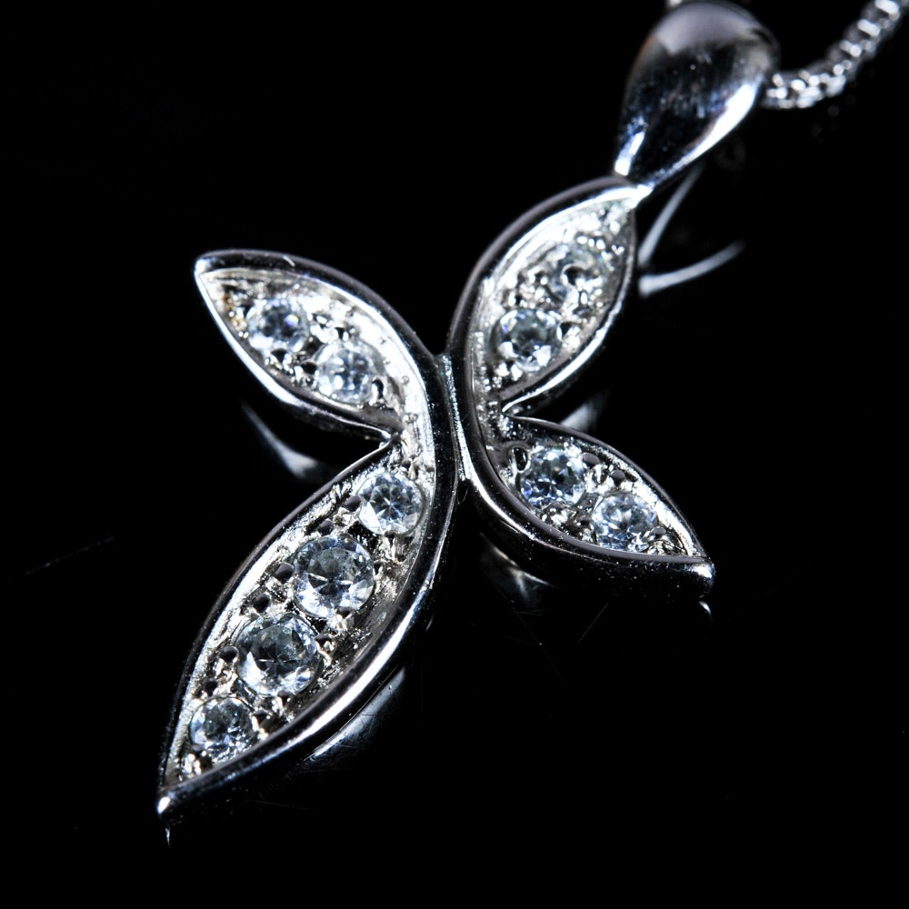 Sterling Silver and Cubic Zirconia Cross Pendant and Chain