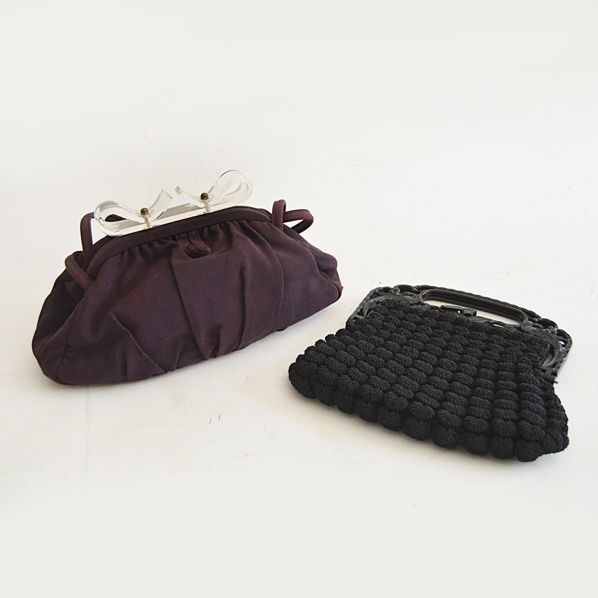 Two 1940s Fabric and Crocheted Purses