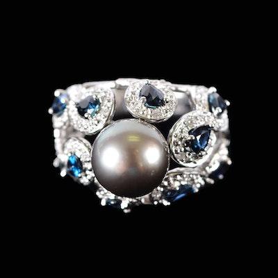 14K Gray Tahitian Pearl Blue Sapphire and Diamond Ring