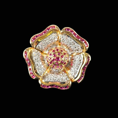 18K Gold Ruby and Diamond Flower Ring