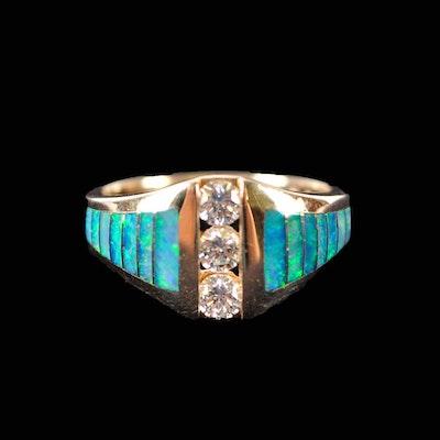 14K Kabana Diamond and Opal Ring