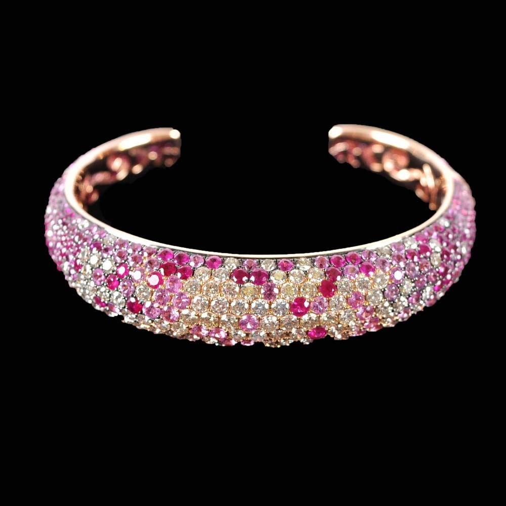 18K Rose Gold Pink Sapphire and Diamond Bracelet