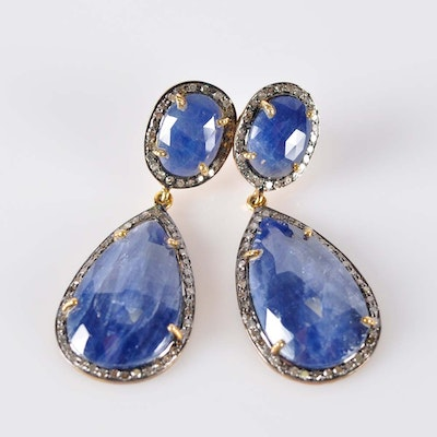 Gold Plated Diamond and Sapphire Earrings
