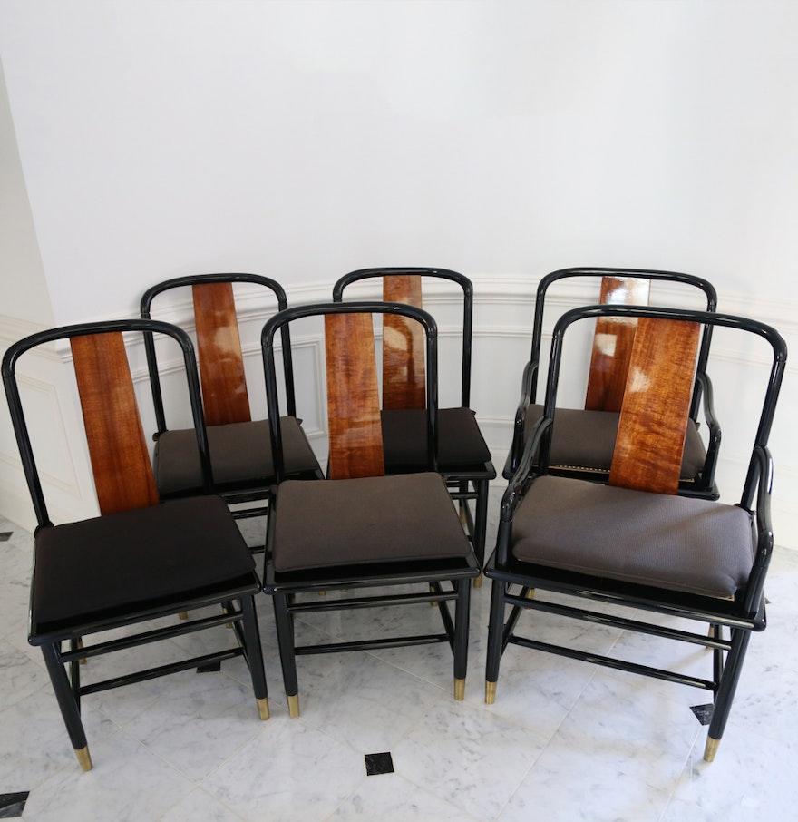 Six Henredon Elan Koa Wood And Black Lacquer Dining Chairs