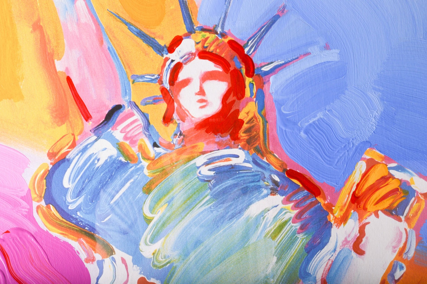 """West 40 Auto Sales >> Peter Max Mixed Media """"Statue of Liberty"""" : EBTH"""