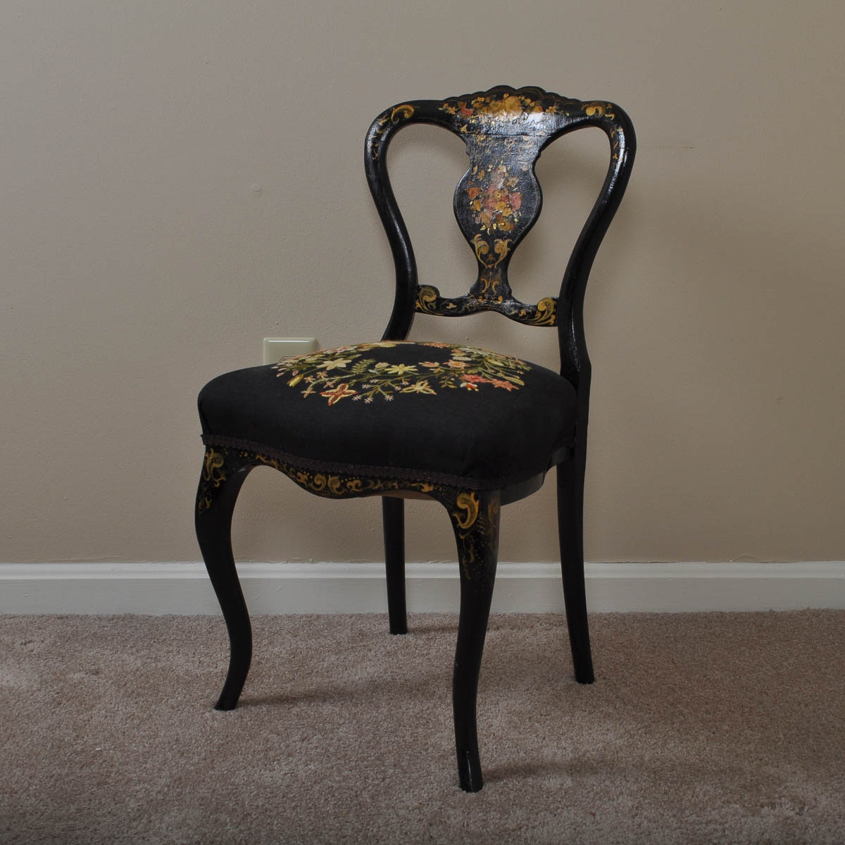 Antique Hand Painted, Hand Embroidered Queen Anne Style Chair