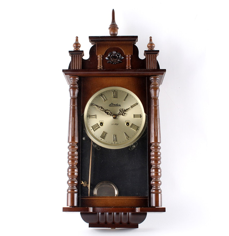 Vintage linden 31 day pendulum wall clock ebth vintage linden 31 day pendulum wall clock amipublicfo Image collections