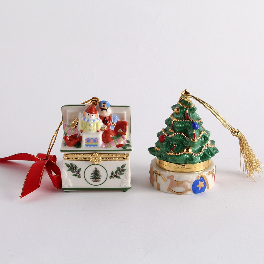 Spode and lenox porcelain christmas trinket box ornaments