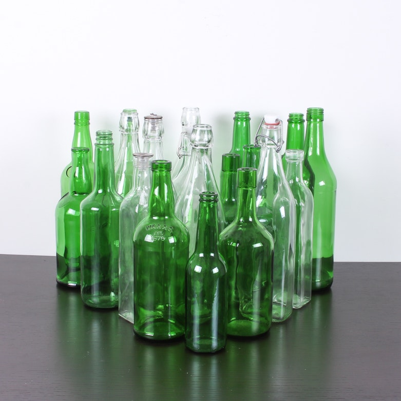 Set of 20 Clear & Green Bottles