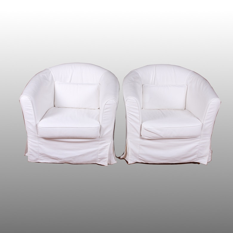 Two White Ikea Barrel Chairs ...