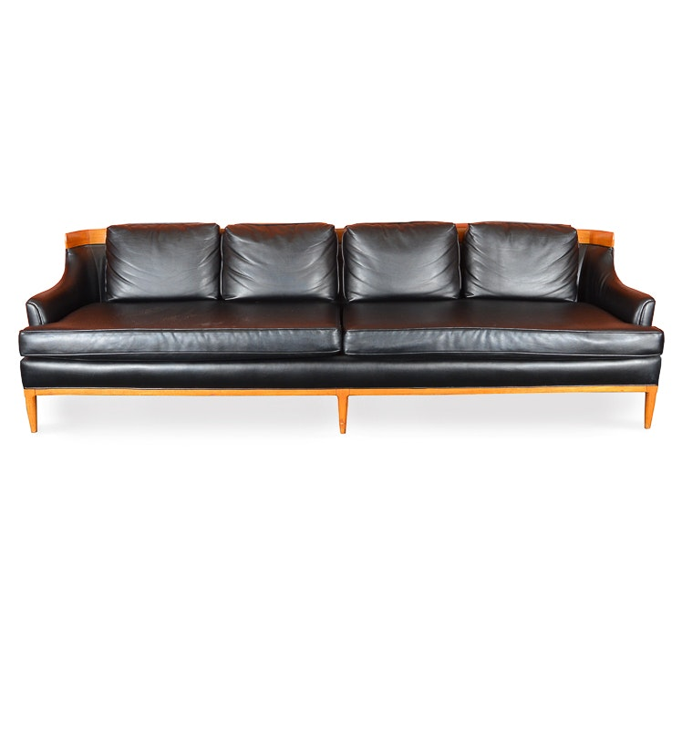 Mid Century Modern Black Leatherette Sofa by Tomlinson