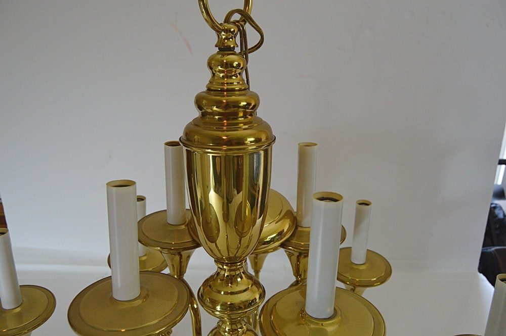 Polished Brass Hunting Horn Chandelier Ebth