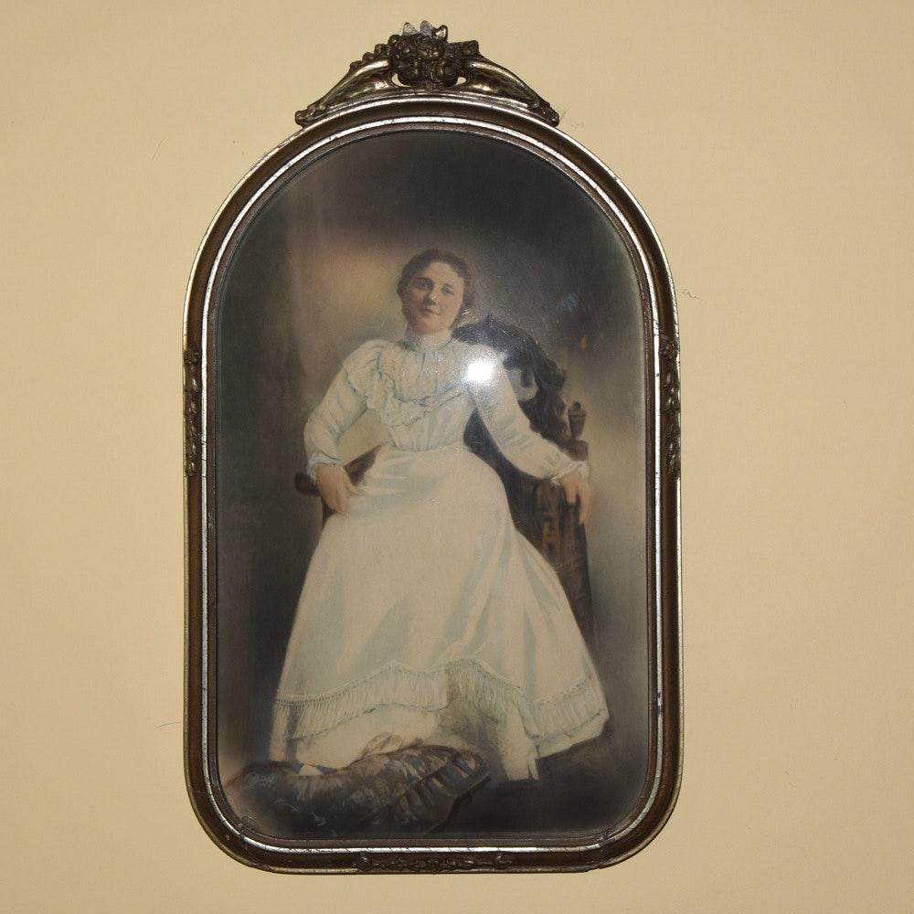 Antique Convex Glass Pastel Portrait