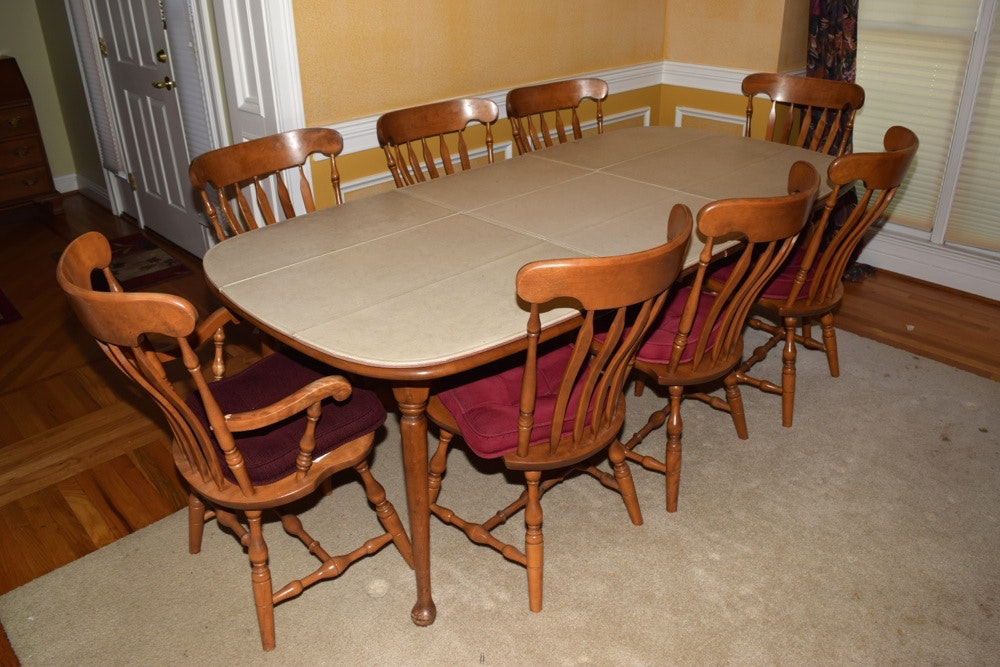 Maple Kitchen Table With Chair And Bench Ebth: S. Bent Hard Rock Maple Dining Table And Chairs : EBTH