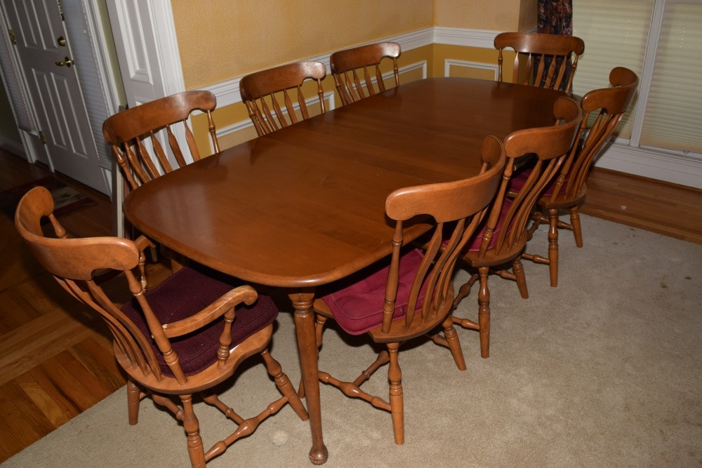S bent hard rock maple dining table and chairs ebth for S bent dining room furniture