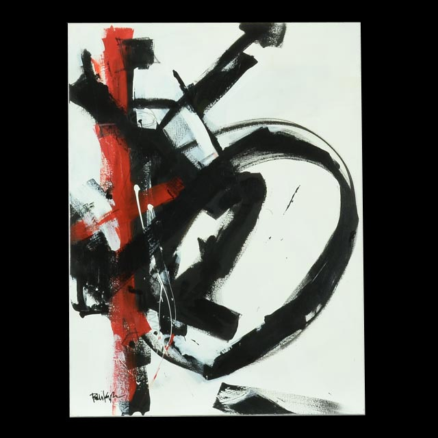 "Robbie Kemper Original Abstract Acrylic on Canvas ""Red Stripe Black Shapes"""
