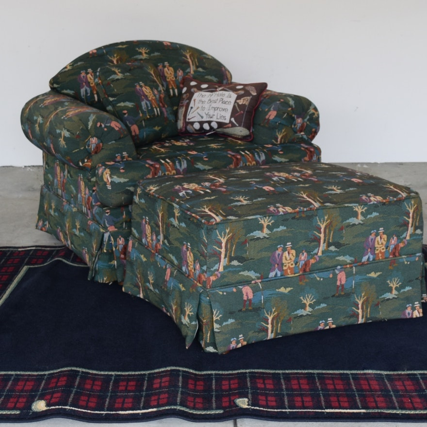 Club Chair With Golf Theme Upholstery And Rug Ebth