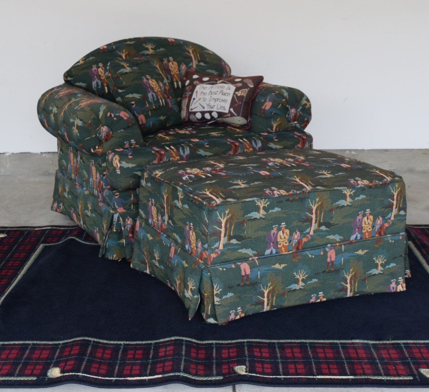 Club Chair With Golf Theme Upholstery And Rug ...