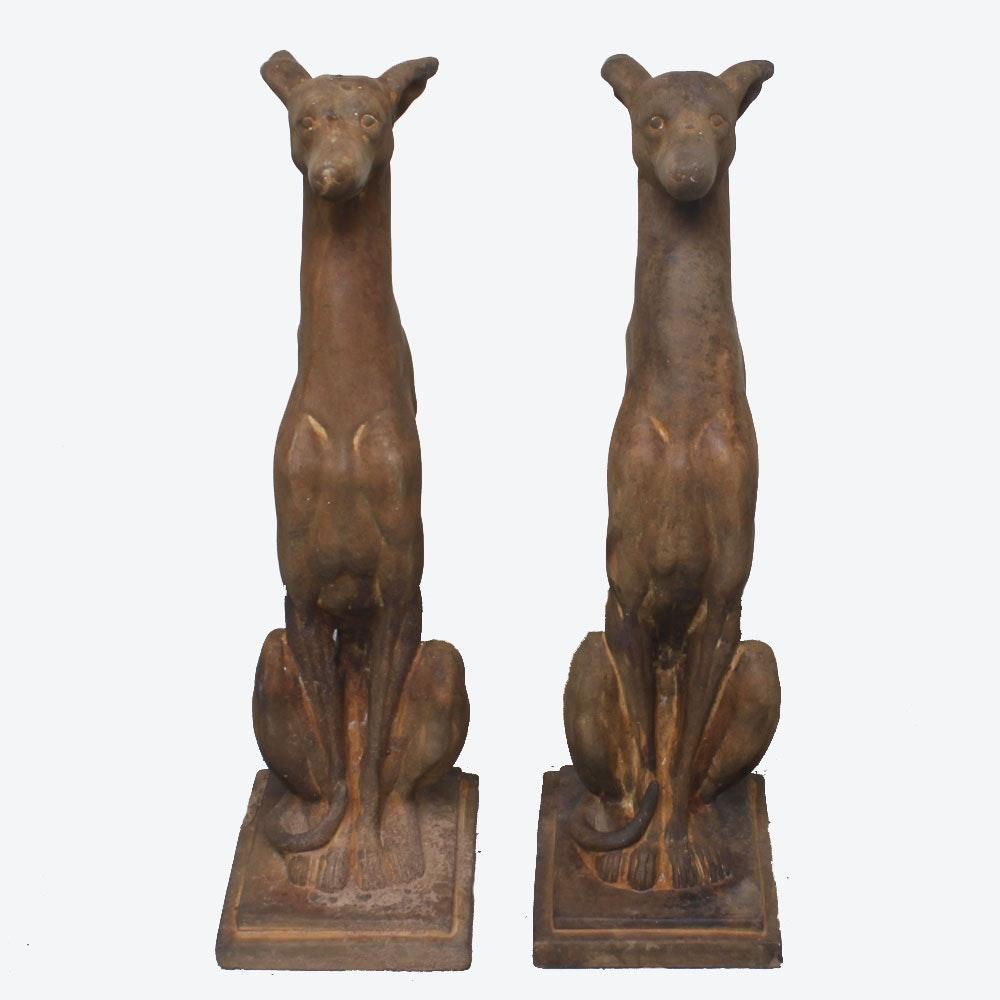 Sitting Whippet Dog Garden Cement Sculptures