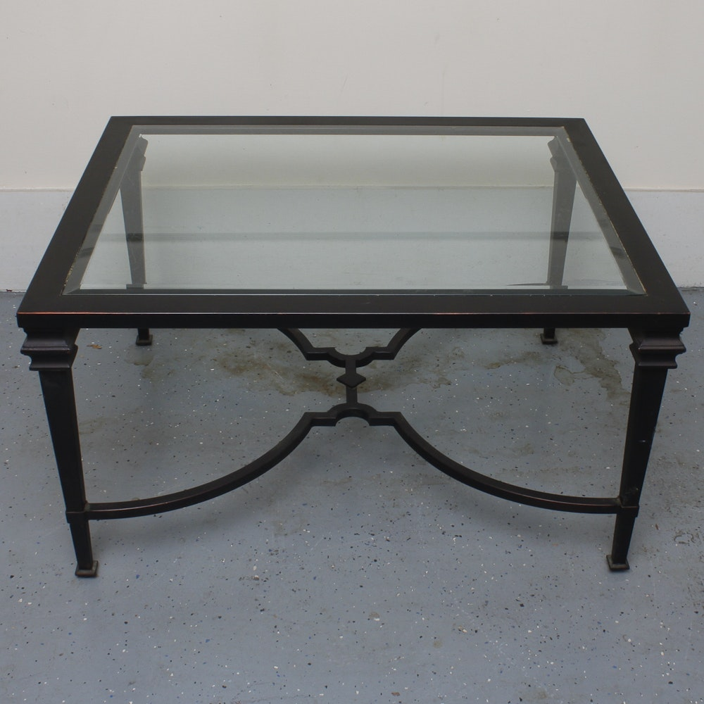 Neoclassic Black and Beveled Glass Coffee Table