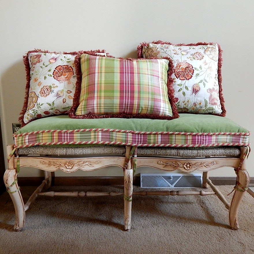 French Country Bench W Pillows Ebth