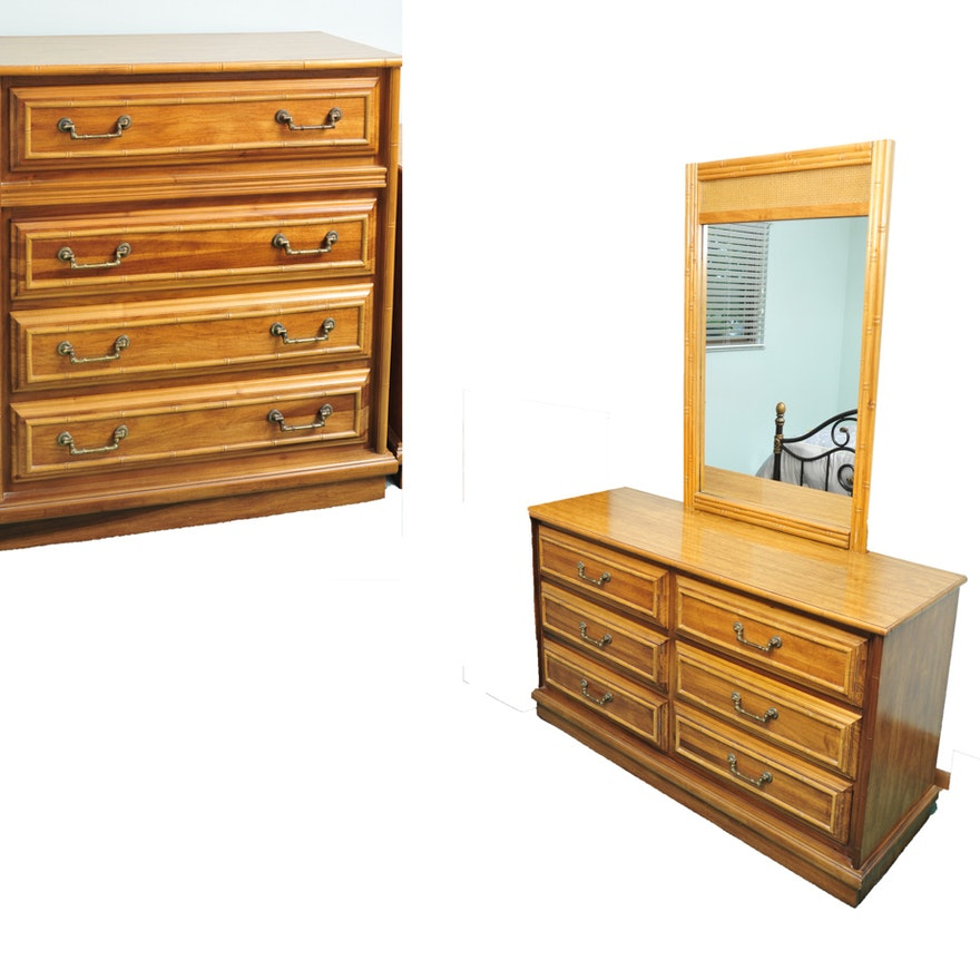 Vintage Faux Rattan Bedroom Set Ebth