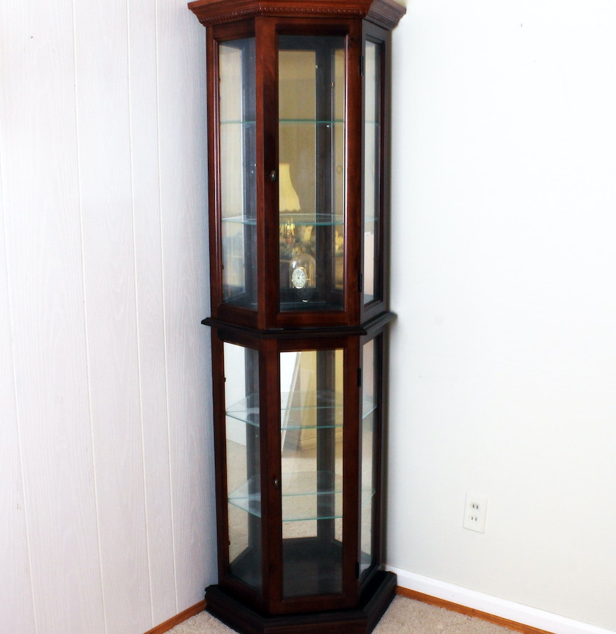 Mirrored and Lighted Corner Knick Knack Curio Cabinet ... - Mirrored And Lighted Corner Knick Knack Curio Cabinet : EBTH