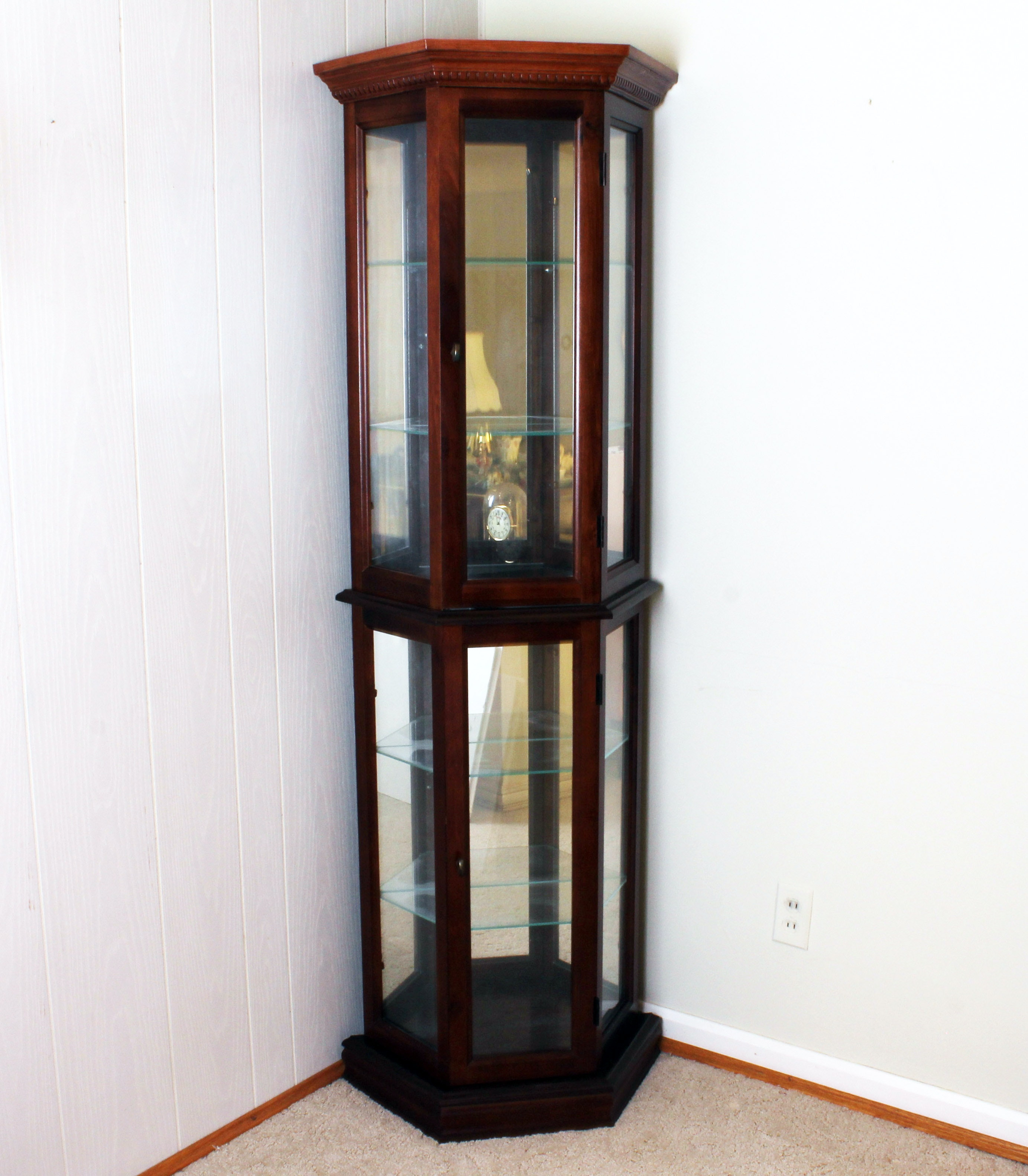 Mirrored And Lighted Corner Knick Knack Curio Cabinet ...
