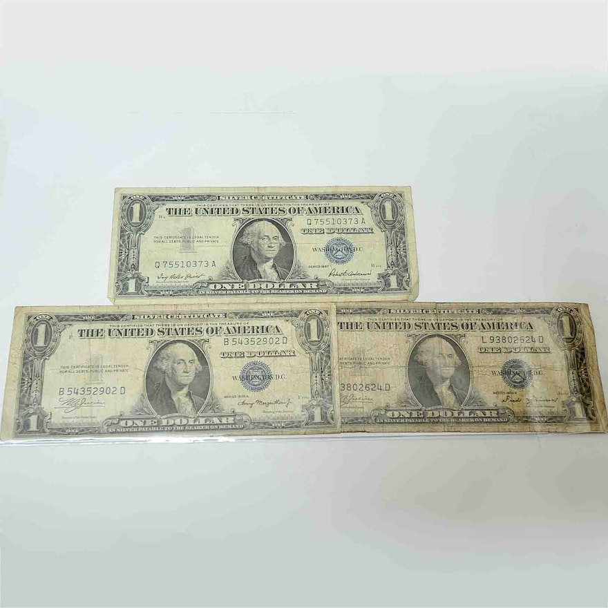Series 1935a 1935b And 1957 Blue Seal Silver Certificate One