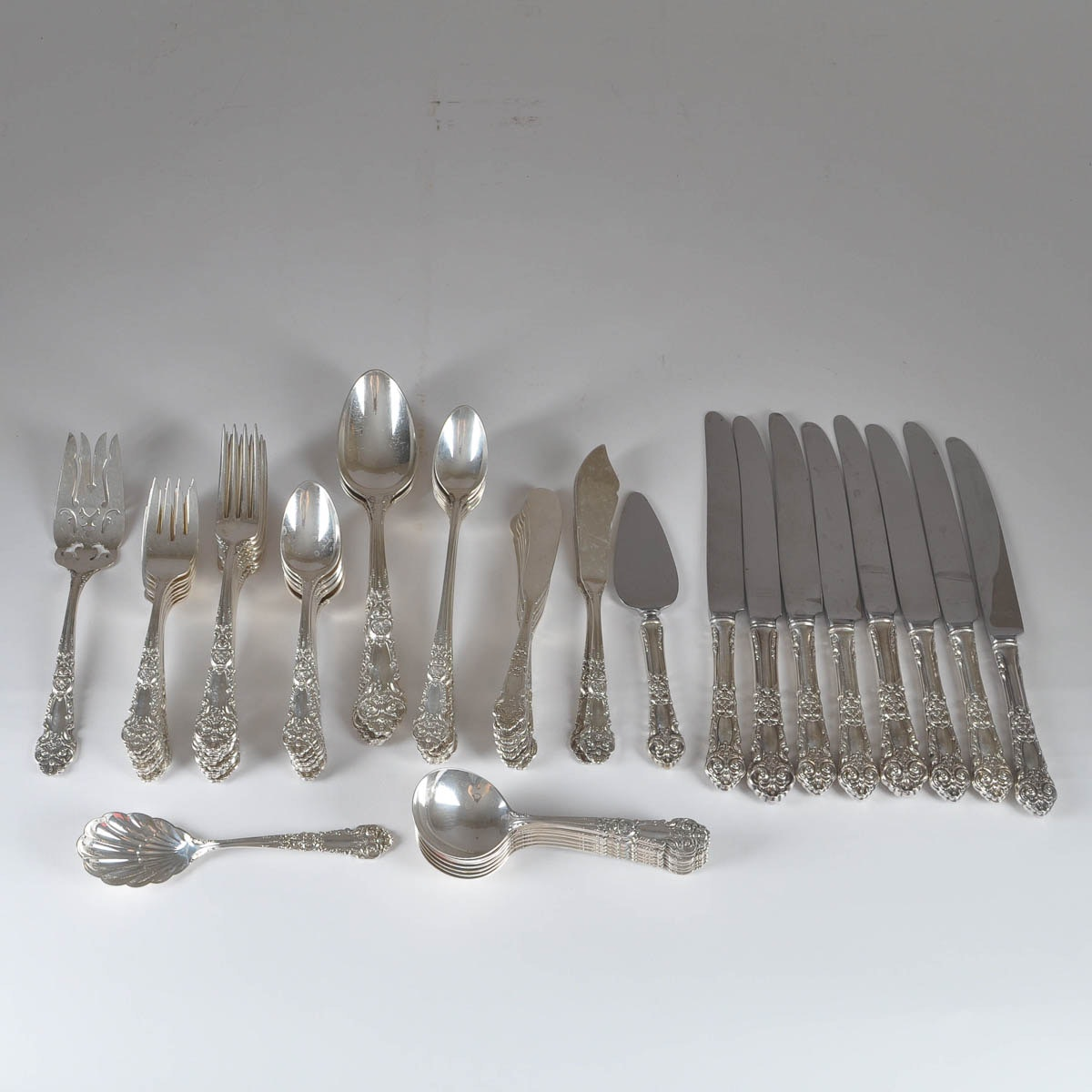 """64-Piece Reed & Barton """"French Renaissance"""" Sterling Flatware"""