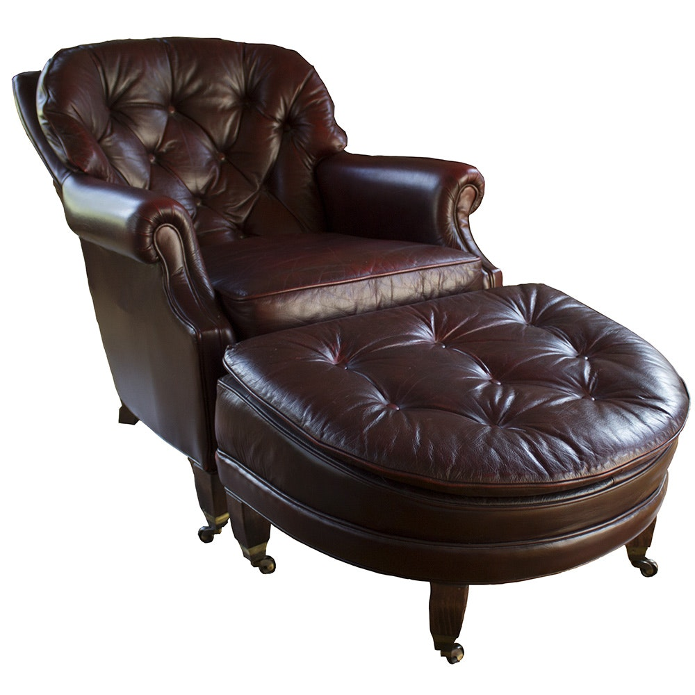 Pendragon Furniture Leather Armchair And Ottoman Ebth