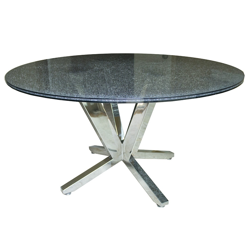 Crackle Glass Top Dining Table With Metal Base : EBTH