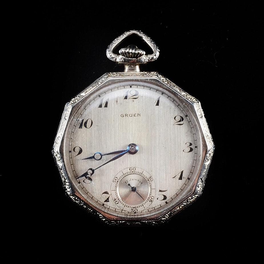 vintage art deco gruen pocket watch ebth. Black Bedroom Furniture Sets. Home Design Ideas