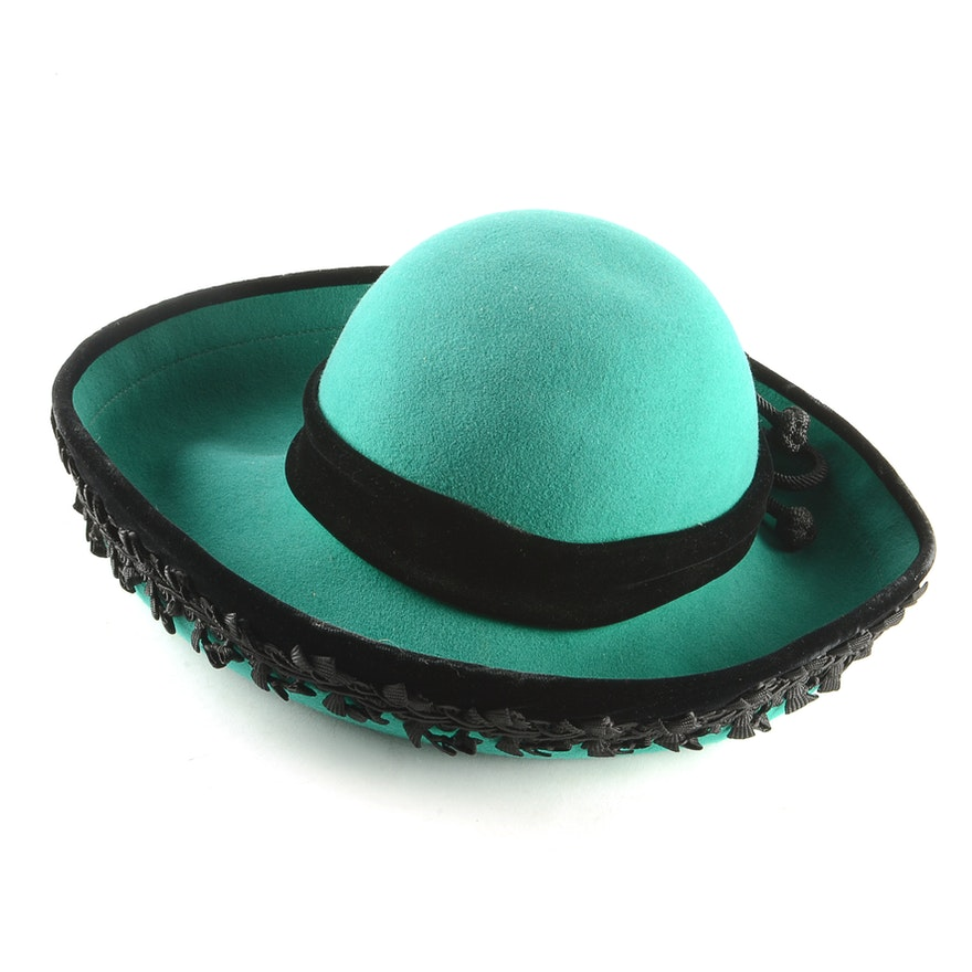 36fe297bcc1 Don Anderson Emerald Green 100% Wool Felt Hat with Black Velvet and Ribbon    EBTH