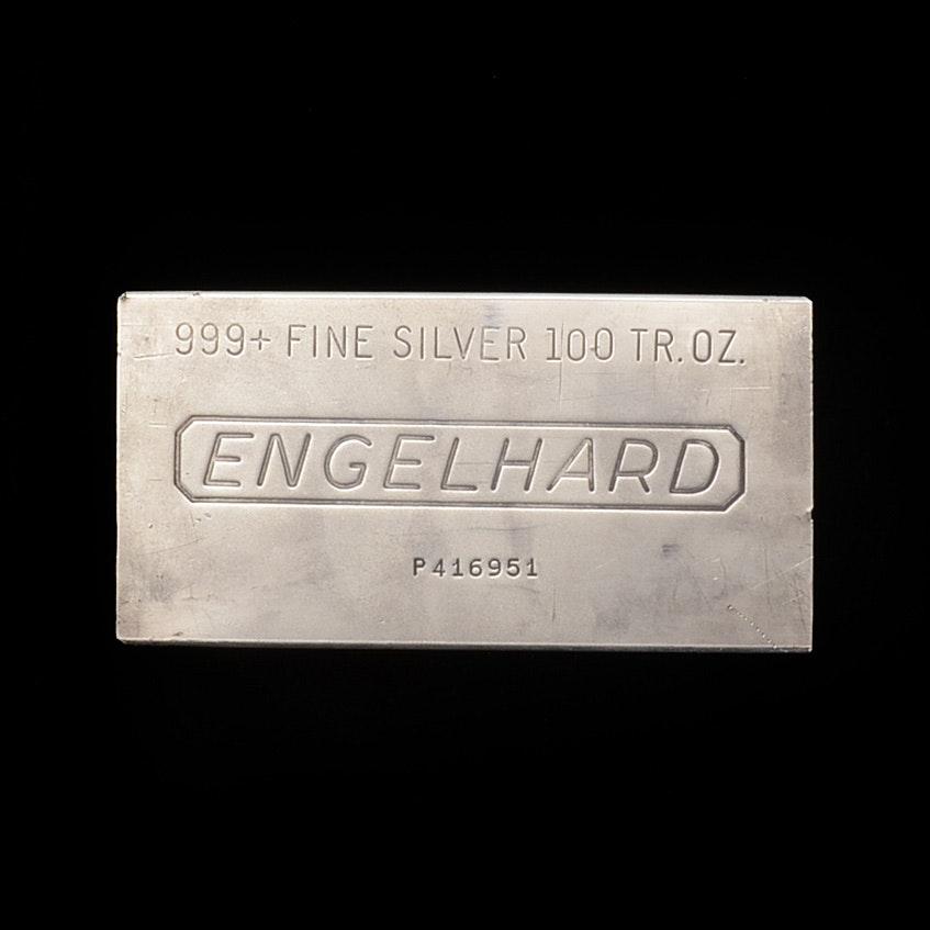 One Hundred Troy Ounce Silver Bullion Bar from Engelhard